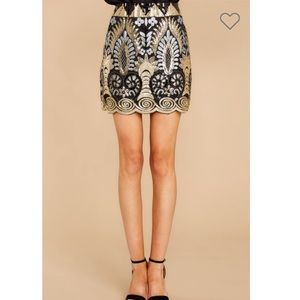 Vici Skirts - Into the light gold and black sequin skirt